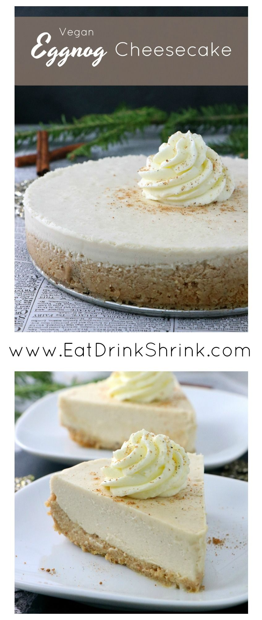 Vegan Eggnog Cheesecake - Eat. Drink. Shrink. #eggnogcheesecake