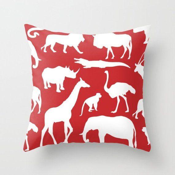Safari Animals Pillow With Insert - African Animals Pillow Cover - Safari Decor - Red Pillow Cover -