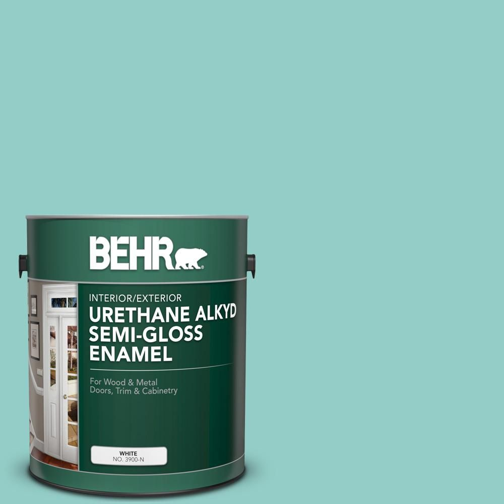 BEHR 1 gal. #500D-4 Jamaica Bay Urethane Alkyd Semi-Gloss Enamel Interior/Exterior Paint-390001 - The Home Depot