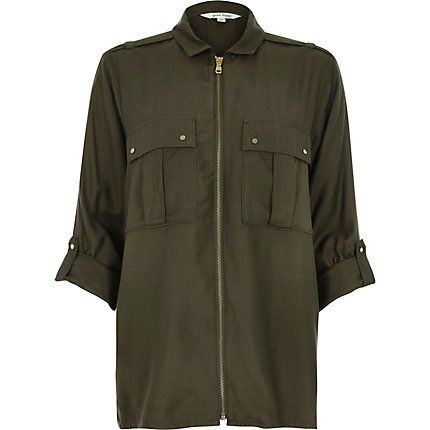 Khaki military zip up shirt £35.00