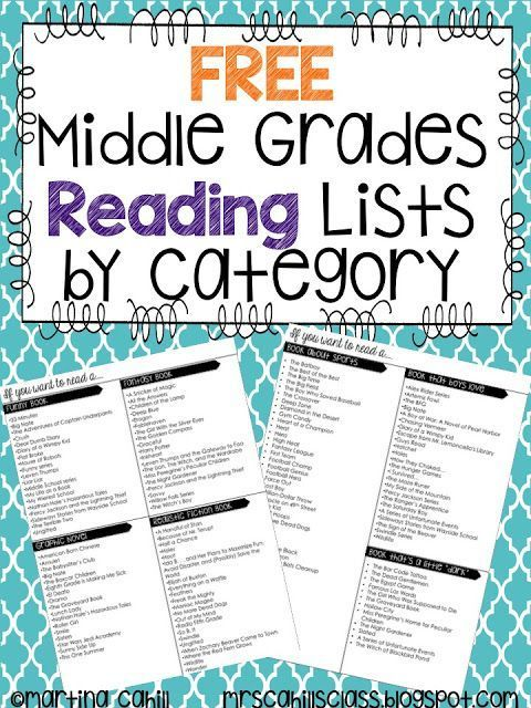Freebie Book Recommendation Lists For Middle Grades 5th Grade