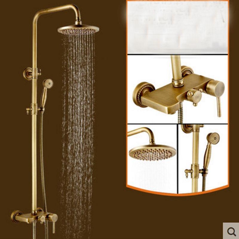 Luxury Antique Brass Round Rain Shower Head Brass Tub Faucet W/ Hand ...
