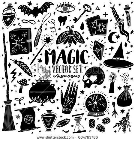 Vector Magic Icons Hand Drawn Doodle Sketch Magician Set
