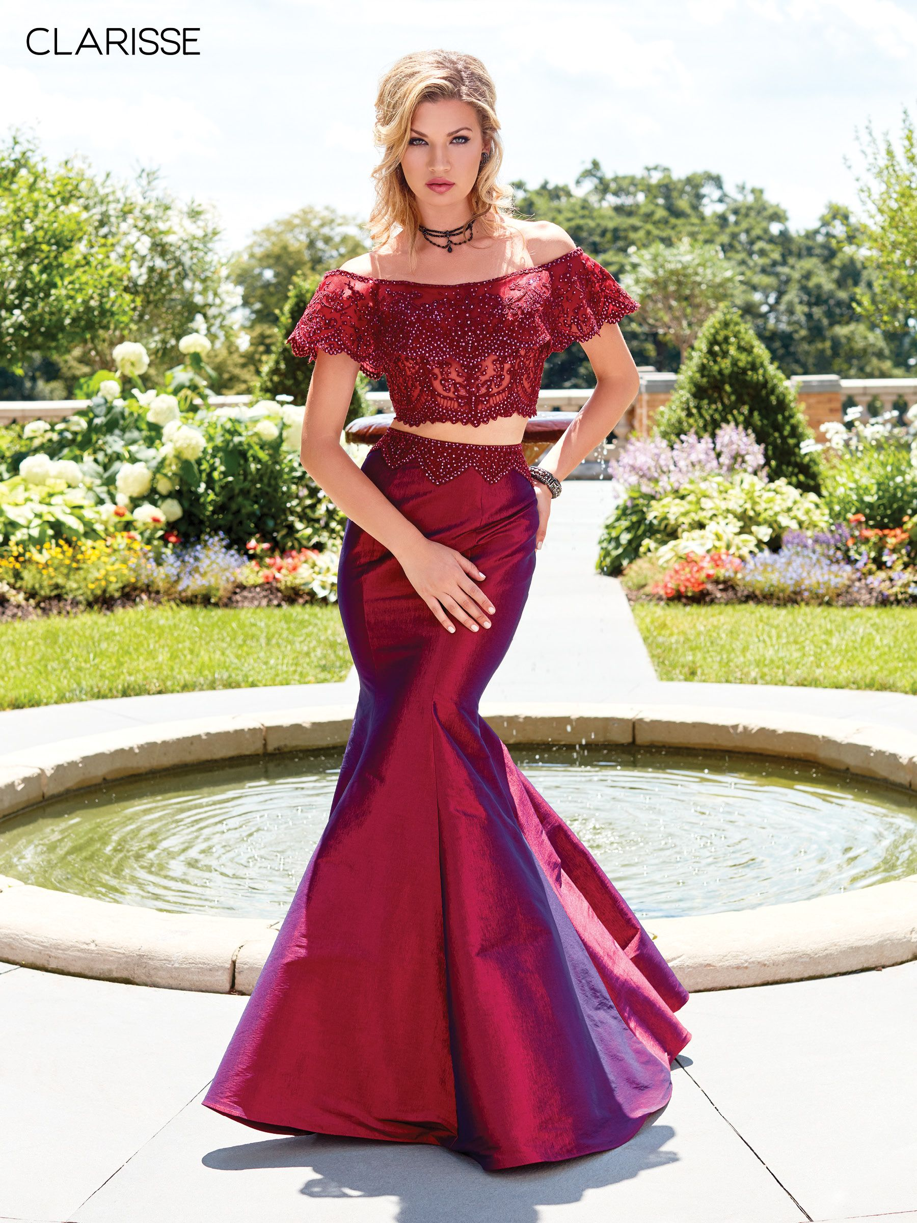 4932 Wine Two Piece Trumpet Dress With An Off The Shoulder Lace Top Mermaid Prom Dresses Prom Dresses Mermaid Formal Gowns [ 2400 x 1800 Pixel ]