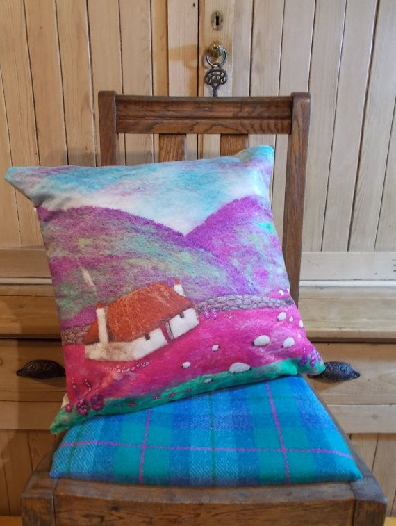 Cushion Digitally Printed with Felt Art by AileenClarkeCrafts on Etsy £38