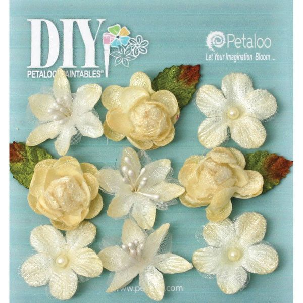 """DIY Paintables Textured Mini Blossoms - 1"""" Ivory"""