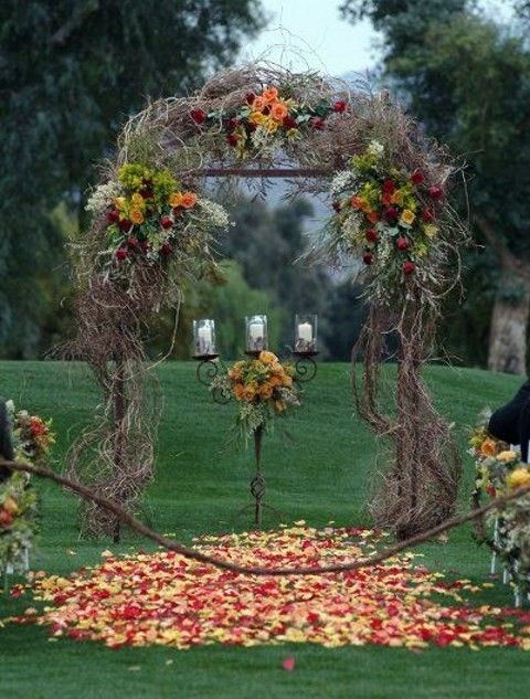 outdoor decoration on a budget | 46 Outdoor Fall Wedding Arches | Wedding Ideas | Fall ...