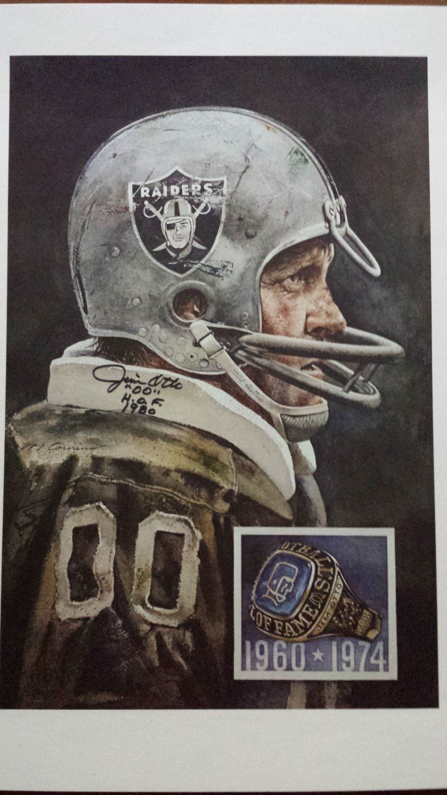 Jim Otto Oakland Raiders Merv Corning Print Signed in Sports Mem ... f18b7a860