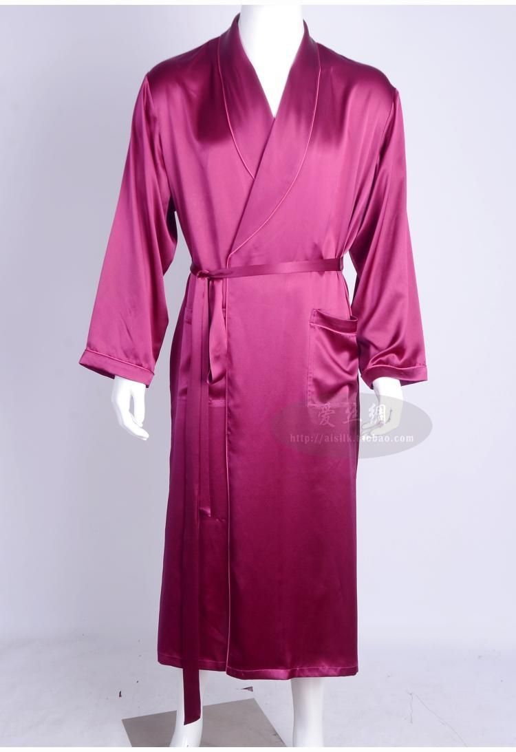 a13f56b1a9 Men love silk heavy silk pajamas long sleeved robe long silk bathrobe silk  clothing (Home