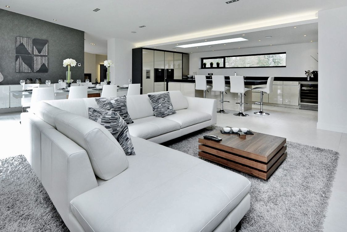 Contemporary modern style white living room decor with white ...