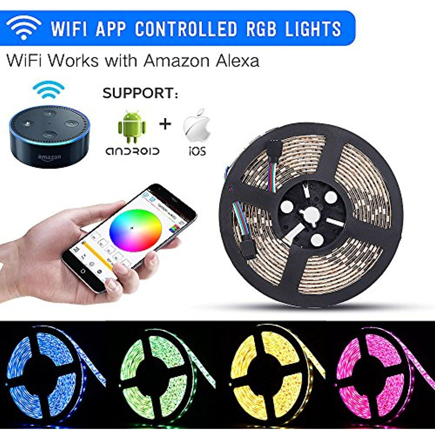 Led Light Strips With Remote Wifi Led Lights Strip Kit Sanwo Wireless Remote Controller 12V