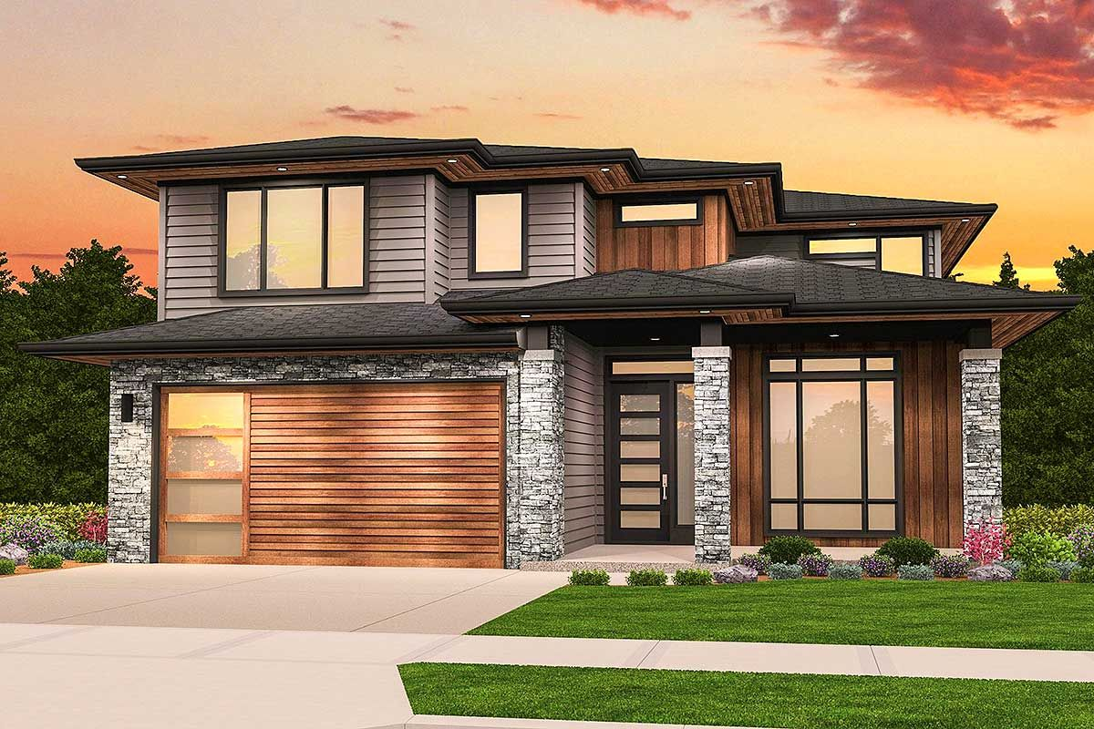 Plan 85220ms Two Story Prairie Style House Plan Prairie Style Houses Contemporary House Plans Modern House Plans