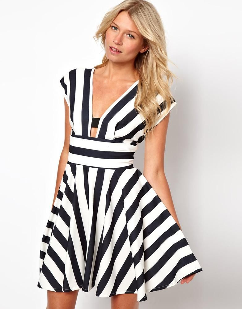 Women's Fashion Love Stripe Dress With Cut Out Back