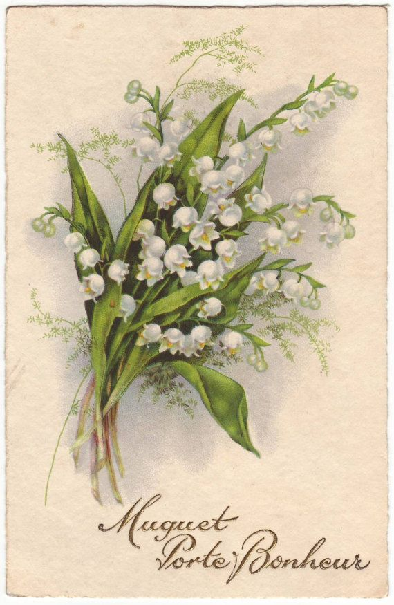 French postcard - Bouquet of lily of the valley, flower card - Antique romantic floral postcard - 1931 (B432)