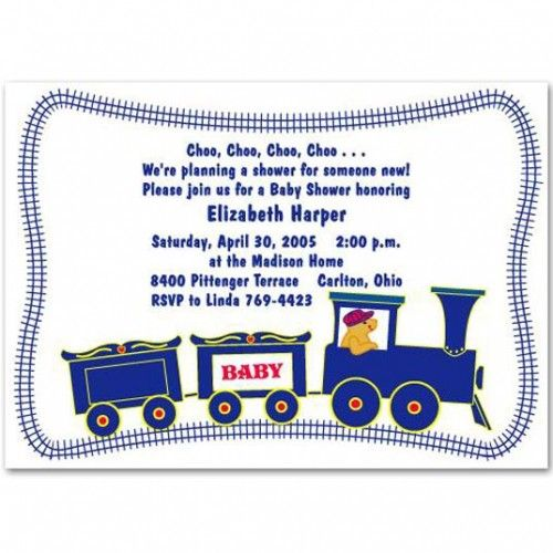 unique carter baby boy shower invitation bs059 train Pinterest - baby shower samples