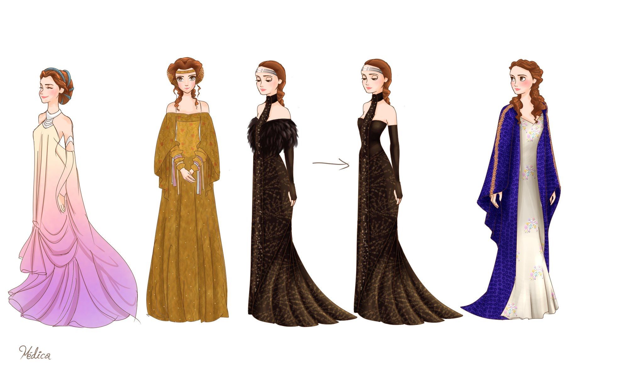 """Padme Amidala outfits for """"Star Wars Episode II Attack of the"""