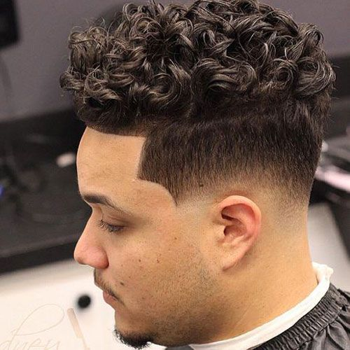 Low Skin Fade With Line Up And Curls