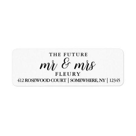 The Future Mr and Mrs Return Address Labels Small Return address - sample return address label