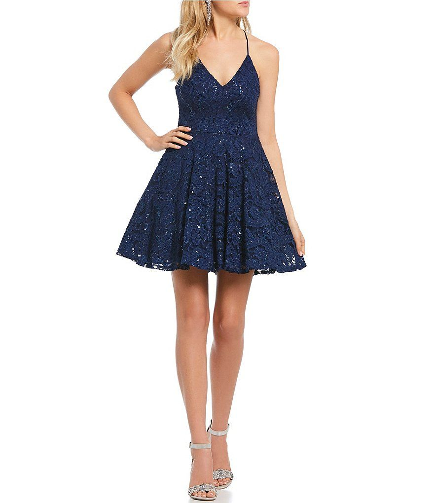 B darlin sequinembellished lace fitandflare dress in