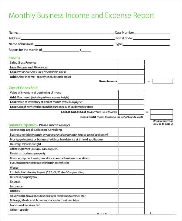 Monthly Business Report Report Template Handyman Business Monthly Expenses