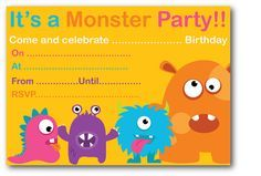 Monster Birthday Party Invitations Free Printable