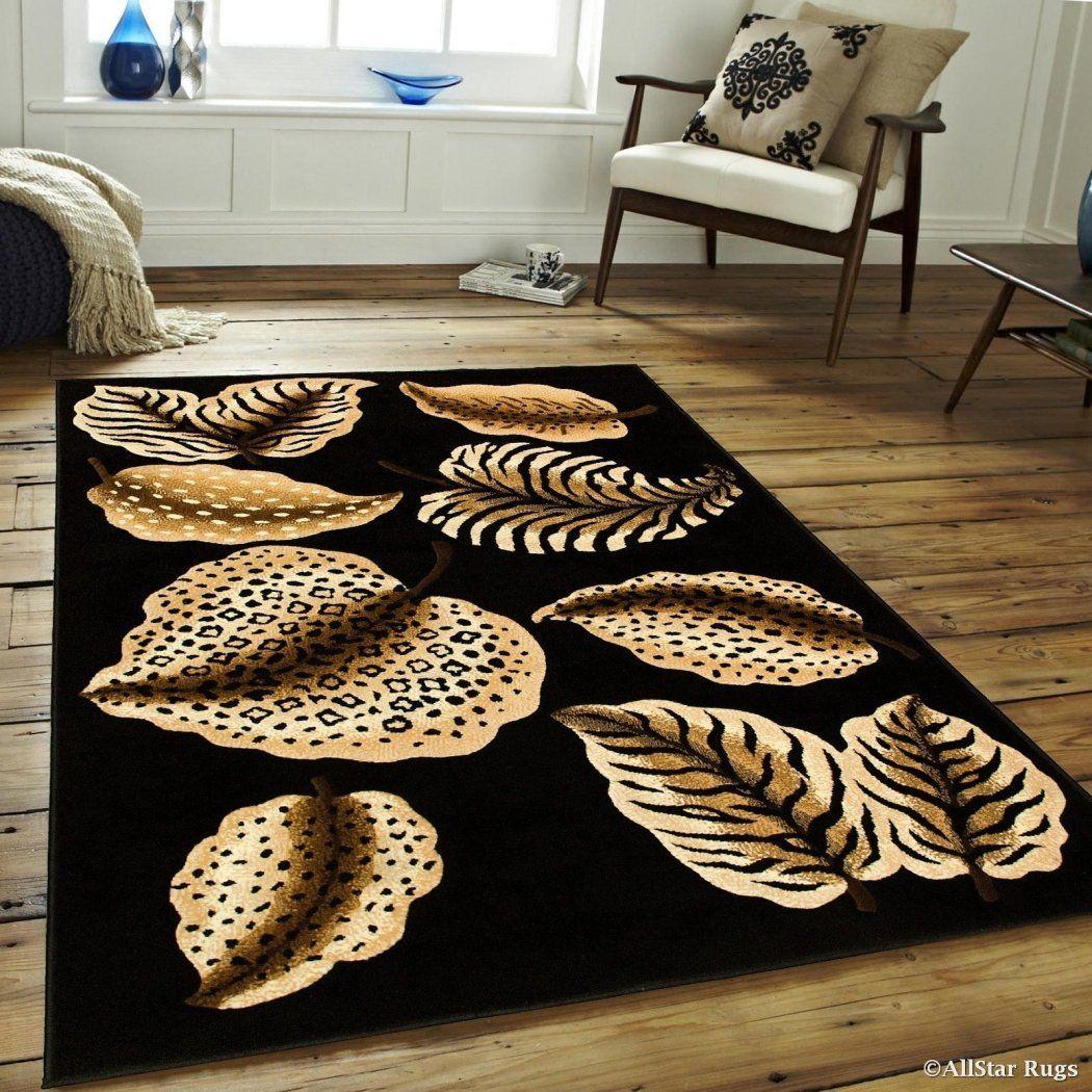 5'2x7'2 Brown Orange Zebra Area Rug Rectangle Indoor Black