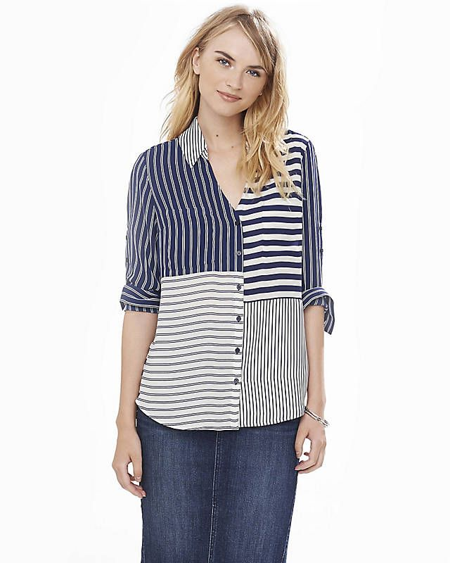 Original Fit Mixed Stripe Portofino Shirt from EXPRESS