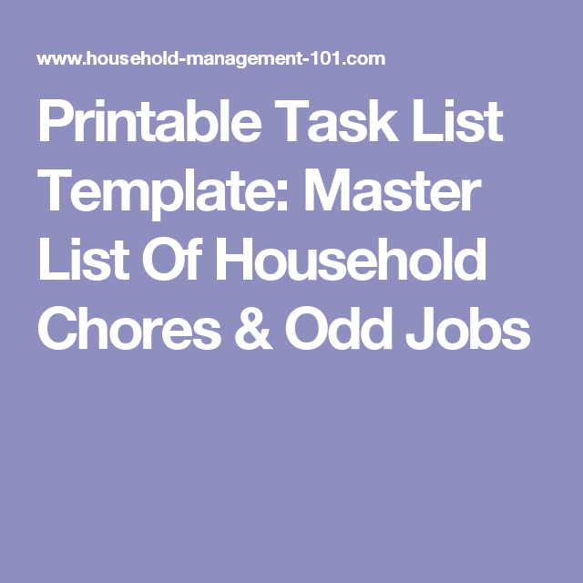 Printable Task List Template Master List Of Household Chores