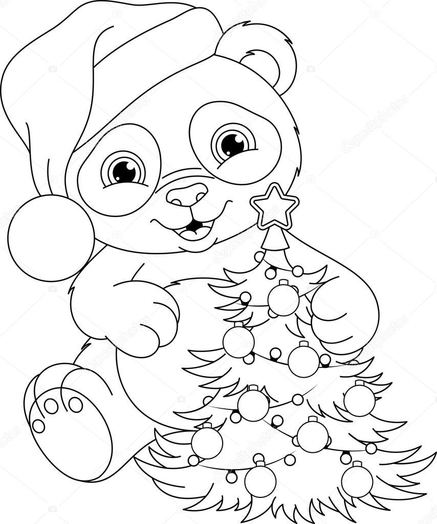 Download Panda Christmas Coloring Page Stock Illustration 104980138 Panda Coloring Pages Owl Coloring Pages Christmas Coloring Sheets