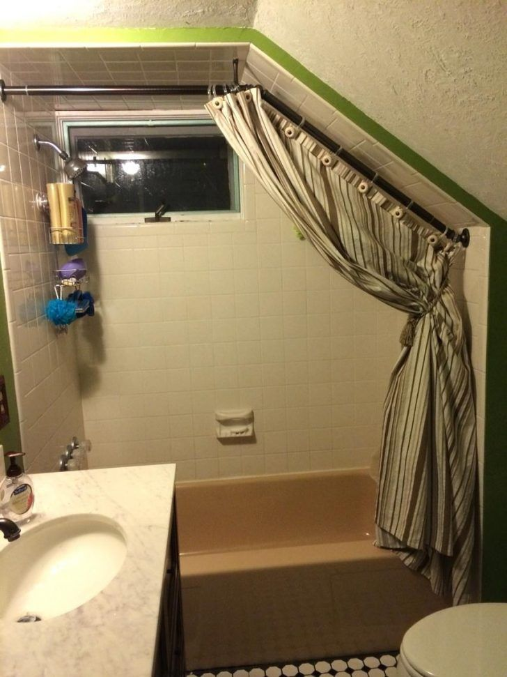 Completed Curtain Rod With Opened Curtain Install Shower Curtain