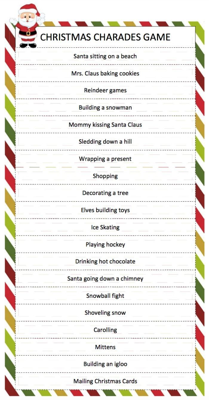 Christmas Charades Game a free printable game for family