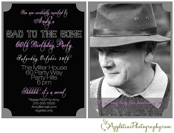 Bad To The Bone Birthday Invitation 60th Birthday Party
