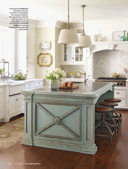 White Kitchen Cabinets with Different Color island New ...
