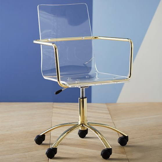 Gold Paige Acrylic Swivel Chair Office Guest Chairs Acrylic