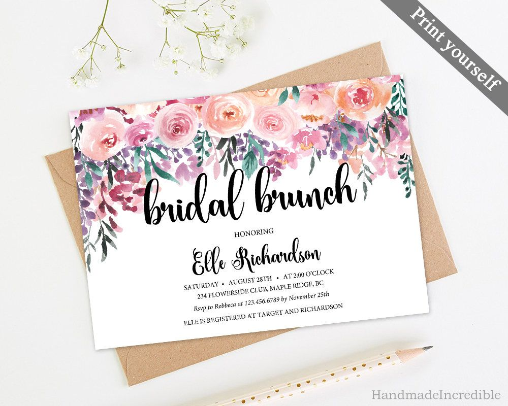 Floral Bridal Brunch Invitation Template Printable Pink Flower