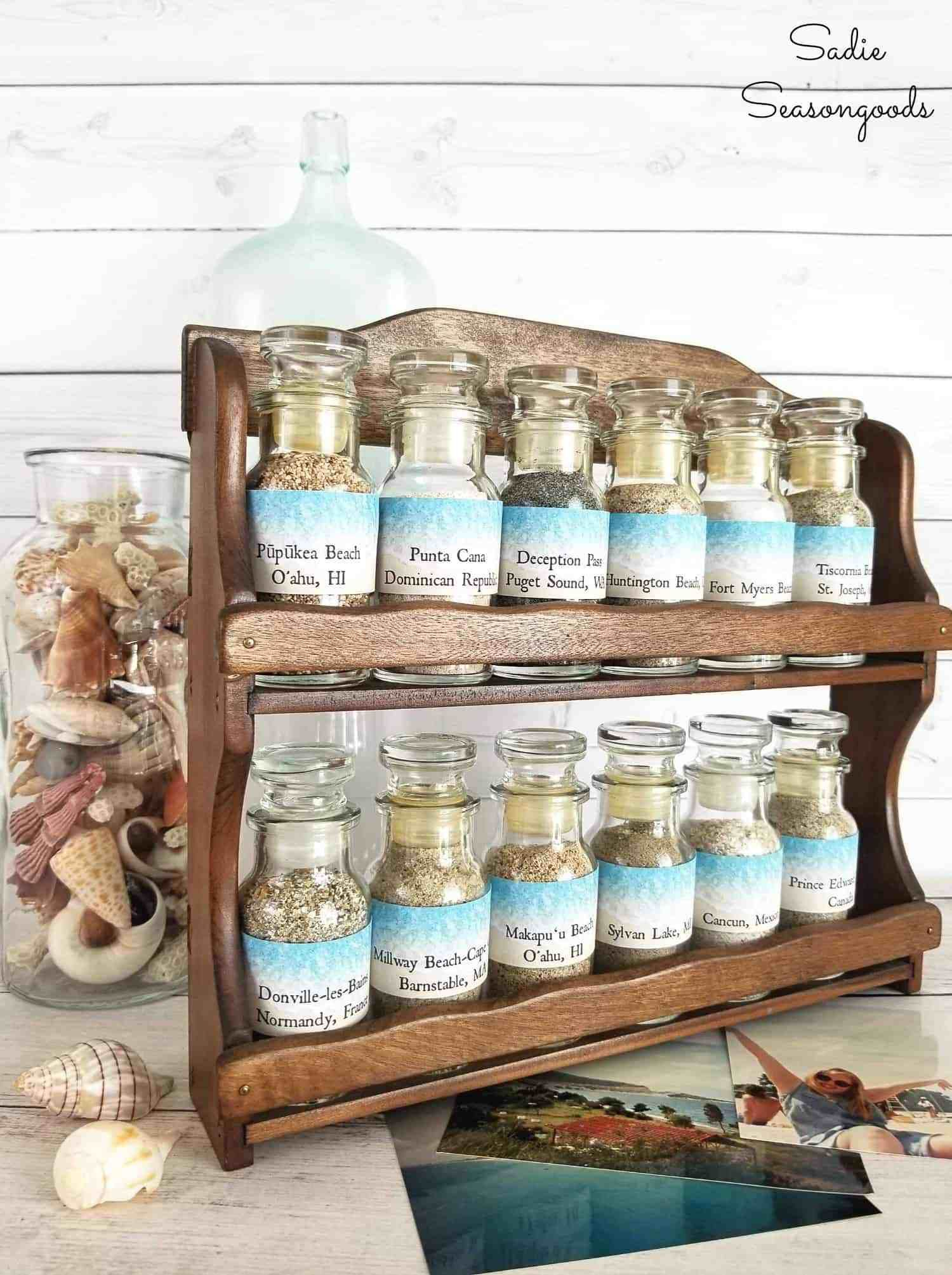 Upcycle A Vintage E Rack From The Thrift Into Display For Your Beach Sand Collection With This Amazing Repurposing Idea Sa Seasongoods