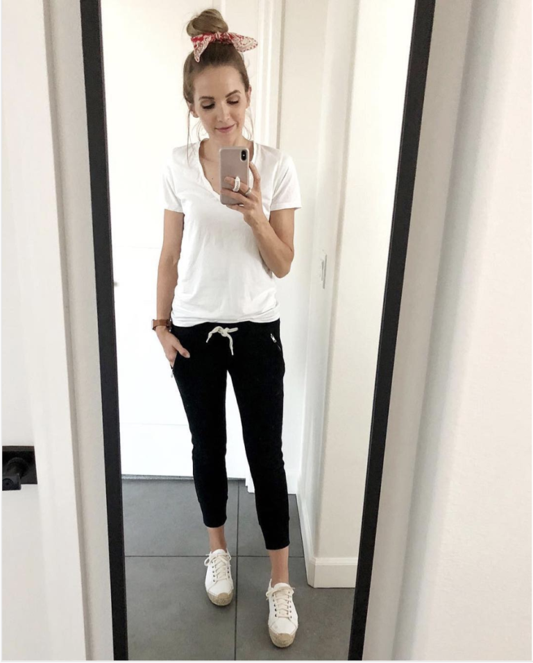8f8657d9c2 black joggers and white tee. 20 Functional But Cute Stay At Home Mom Outfits  for Summer ...