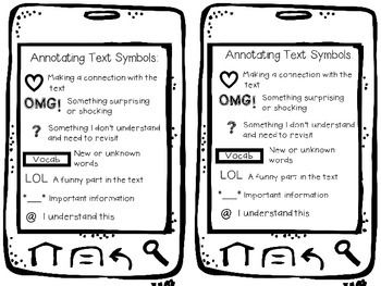 Annotating Text Symbols Cell Phones Freebie