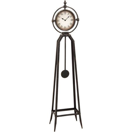 Floor clock with a distressed metal frame and working pendulum. Product: Floor clockConstruction Material: Metal and ...