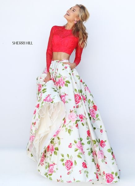 Two Piece Sherri Hill 50261 Coral Print Lace Prom Dress