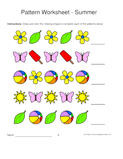 summer pattern worksheets for kids 1 2 pattern draw and color the missing - Color Patterns For Kids