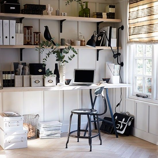 wohnideen arbeitszimmer home office b ro wei b ro zu hause mit schwarzen akzenten ideas for. Black Bedroom Furniture Sets. Home Design Ideas