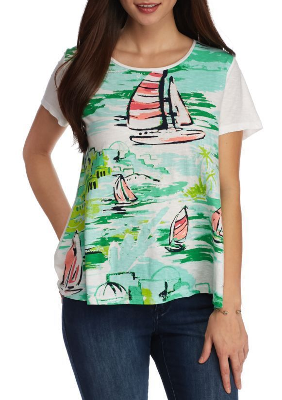 30785d87414656 Crown   Ivy Women s Sailboat Scenic Graphic Tee Short Sleeve White Lime Size  XS  CrownIvy  KnitTop  Casual