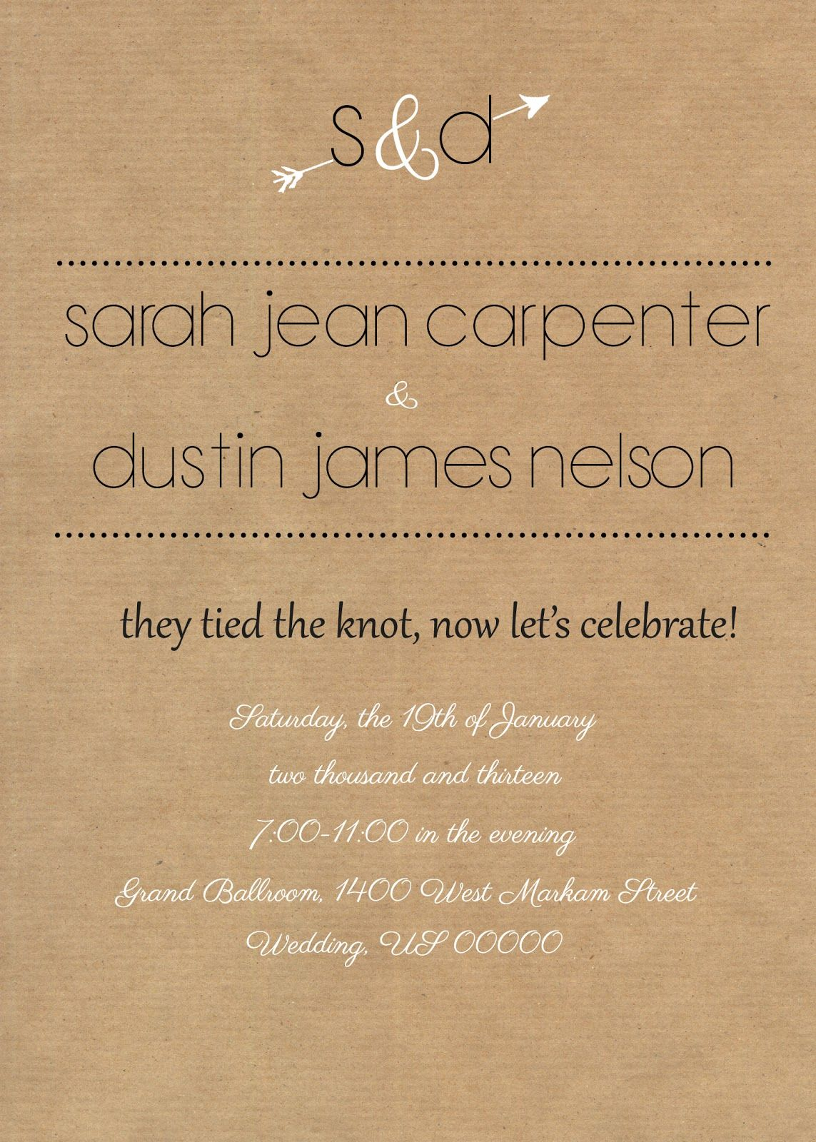 Rustic Reception Invite I Like The Wording Of This Especially If Someday Decide To Do A Small Courthouse Ceremony And Throw Party Afterward For Family: Small Wedding Invitation Wording At Websimilar.org