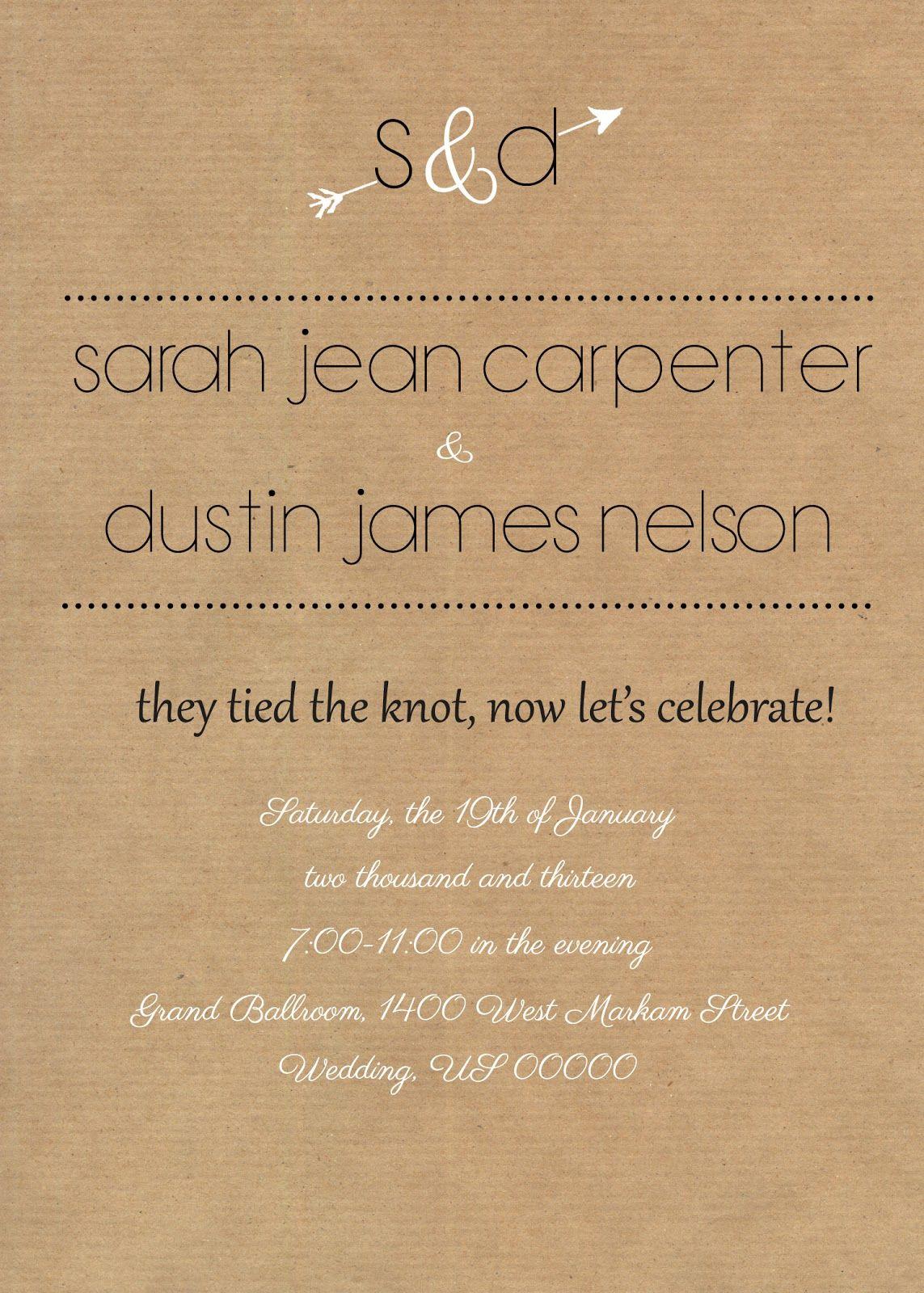 Wedding Reception Invitations