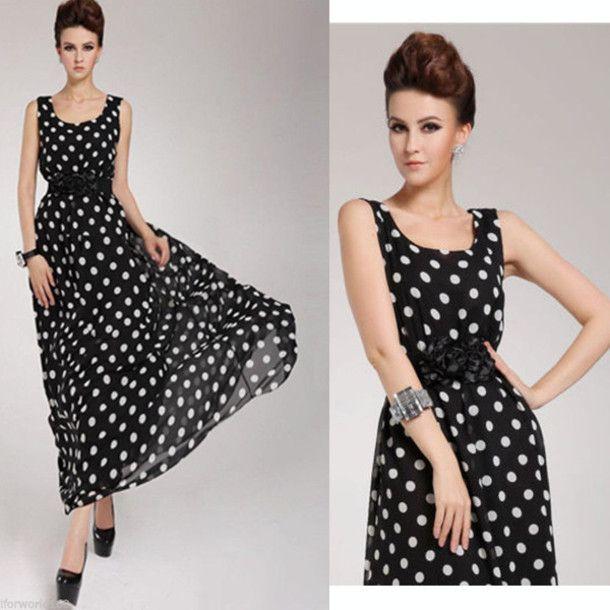 Polka dots chiffon sexy dress