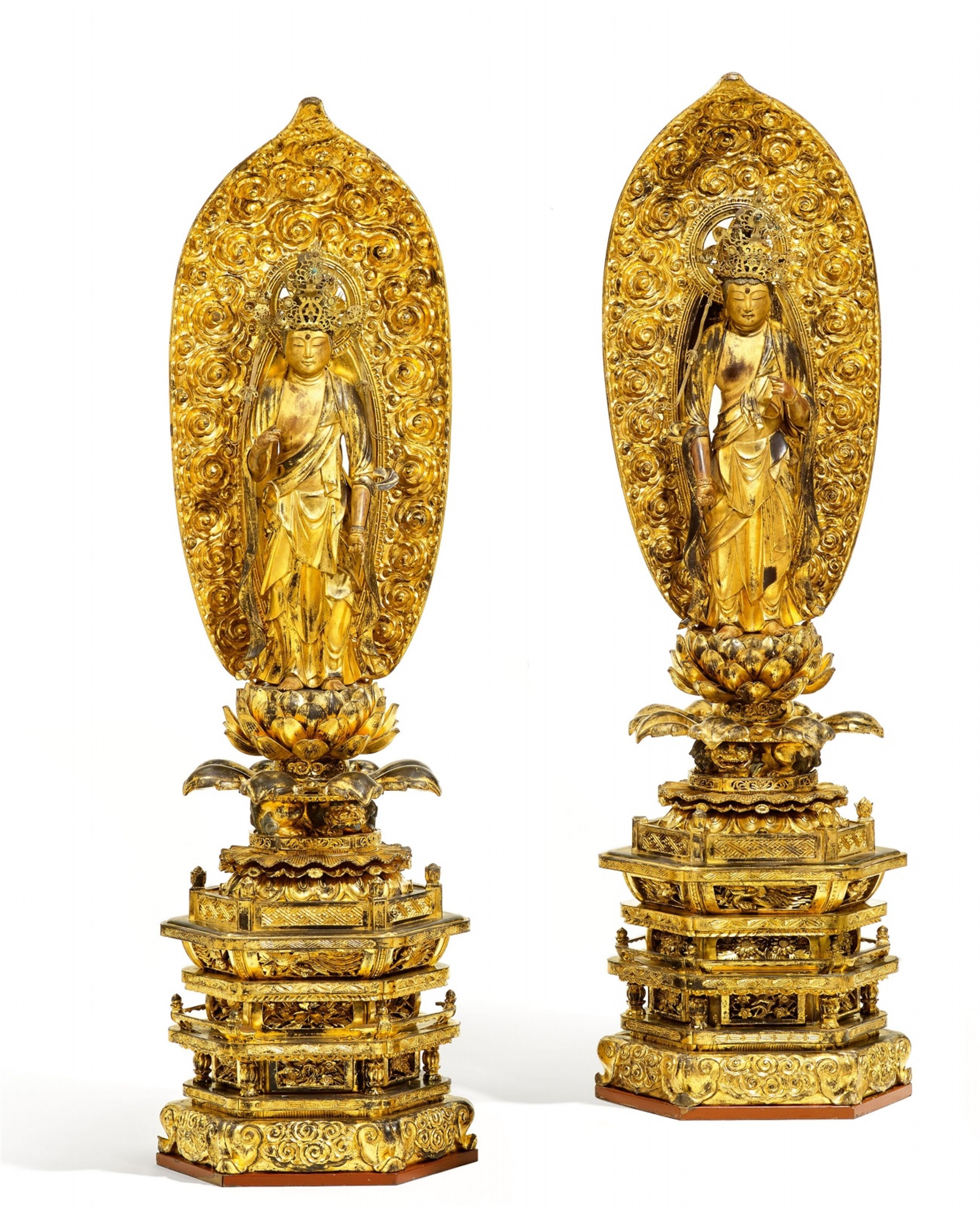 Two large gilt and lacquered wood figures of Seishi Bosatsu and Kannon Bosatsu. Dated 1747