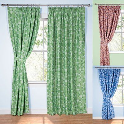 "Pixel Ready-Made Light-Reducing Curtains (Green, 168 x 137cm (66"" x 54""))"