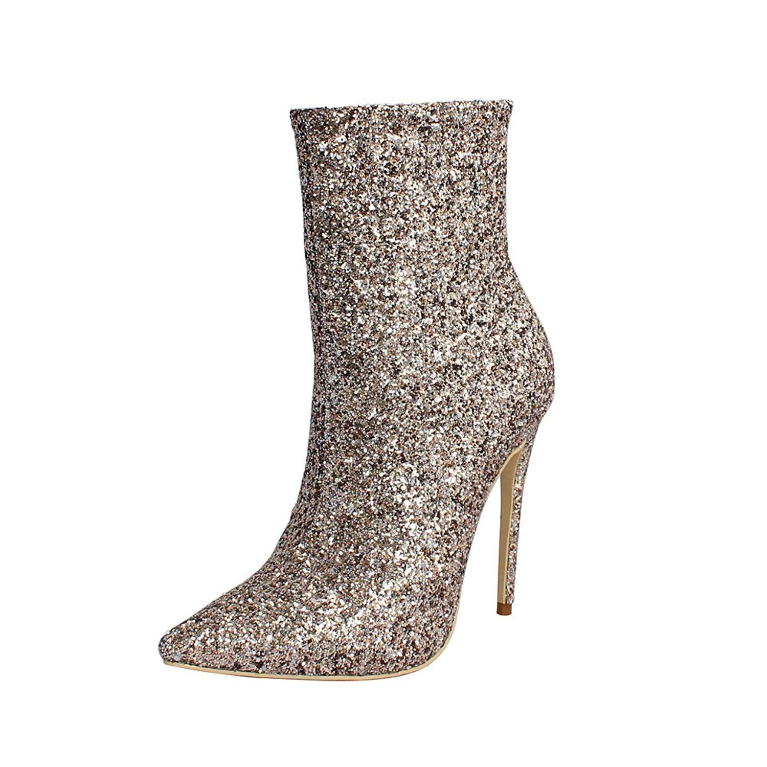 9ee692b82891 12CM High Heel Women Boots Plus Size Shoes Women Sequins Boots Wedding  Party Pointed Toe Ankle Boots. Item Specifics. Women s Shoes