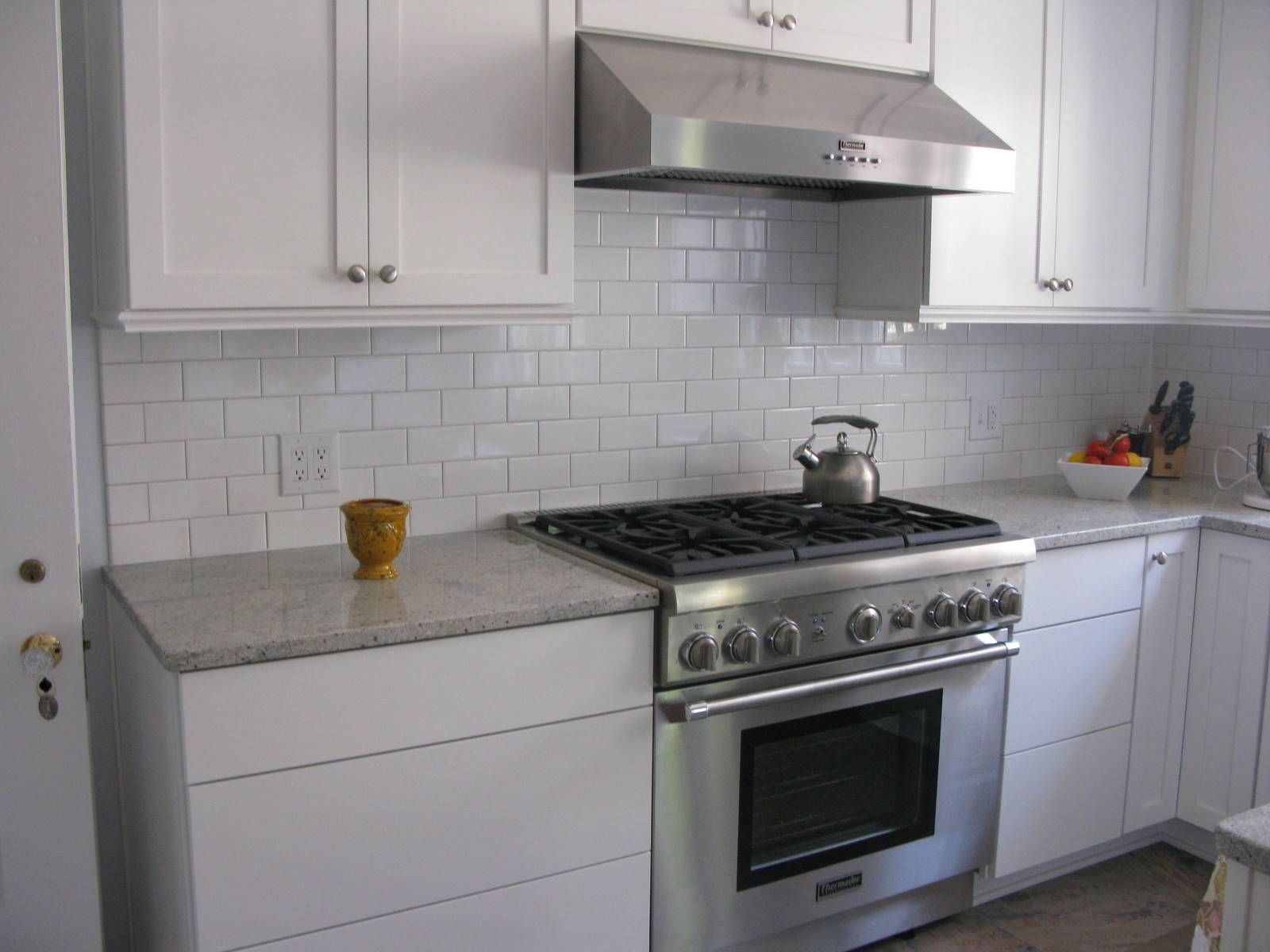 white kitchen subway tile stainless steel vent hood - White Kitchen With Subway Tile Backsplas